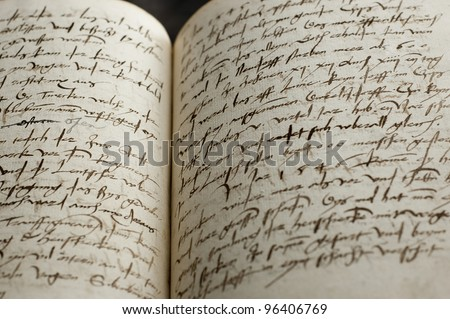 500 year old book - stock photo