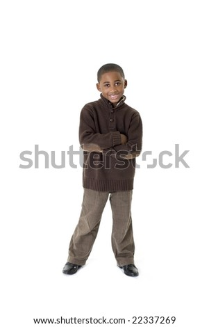 7 year old boy portrait on white background - stock photo