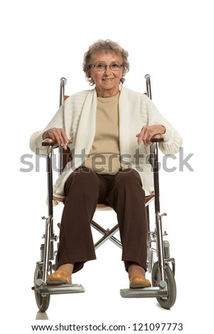 80 Year Old Elderly Senior Woman Sit in Wheelchair Isolated on white Background - stock photo