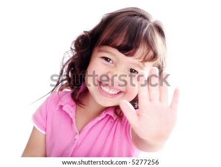 3-Year-Old Girl Holding up her Hand Signaling STOP! - stock photo