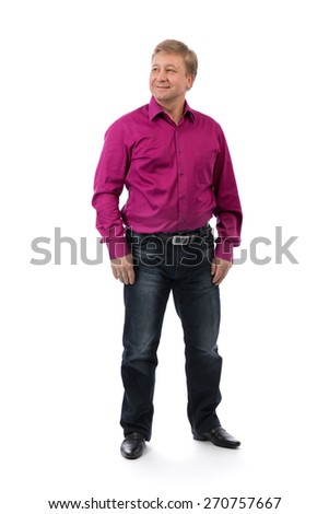 40 year-old man on a white background in a purple shirt casual design. Studio, isolate on white. - stock photo