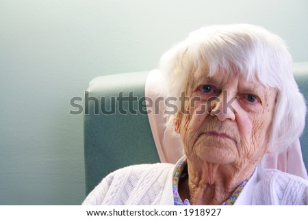 93 year old senior citizen angry look - stock photo