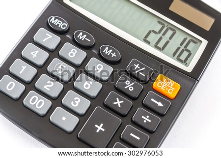 2016 Year on The Calculator - stock photo