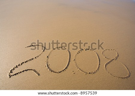 2008 year on the sand - stock photo