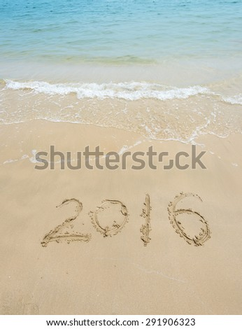 2016 year on the sea shore. Element of design - stock photo
