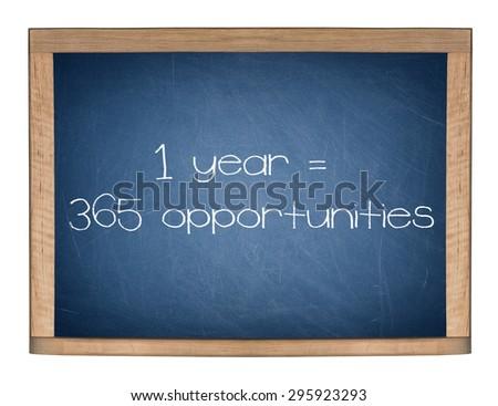 1 YEAR = 365 OPPORTUNITIES motivational quote written on blue chalkboard. - stock photo