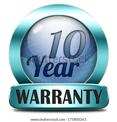 10 year warranty top quality product ten years assurance and replacement best top quality guarantee guaranteed commitment blue icon label or button - stock photo