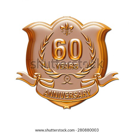 60 years anniversary golden label with ribbon, 3d Metallic illustration isolated on white. - stock photo