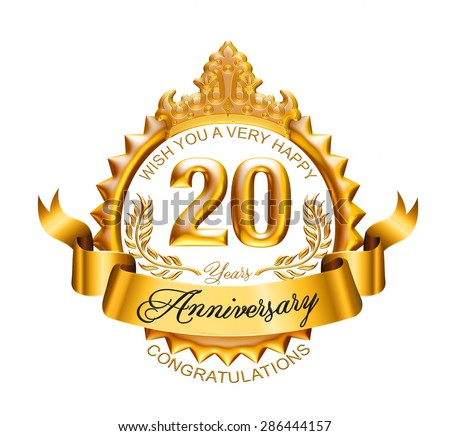 20 years anniversary golden laurel wreath with ribbon on white background.  - stock photo