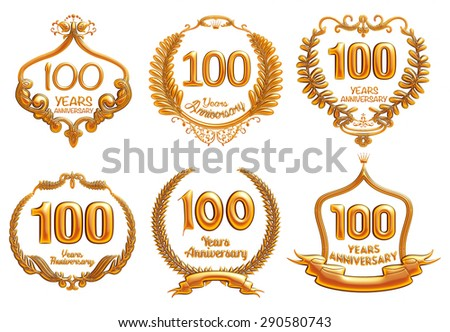 100 Years Anniversary sign collection, 3D design on isolated white background. - stock photo