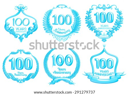 100 years anniversary sign collection design in 3d blue on isolated white - stock photo