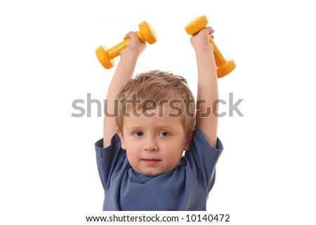 4 years old boy with dumbbells isolated on white - stock photo
