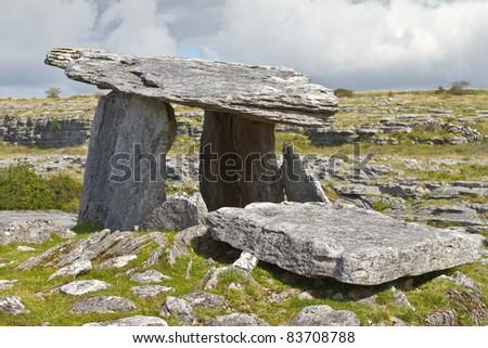 5 000 years old Polnabrone Dolmen in Burren, Co. Clare - Ireland - stock photo