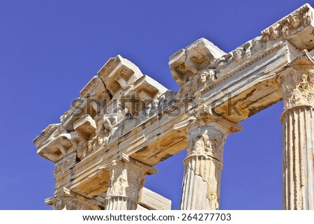 2000 Years old Roman Temple of Apollo in Side on the Mediterranean coast of Turkey. - stock photo