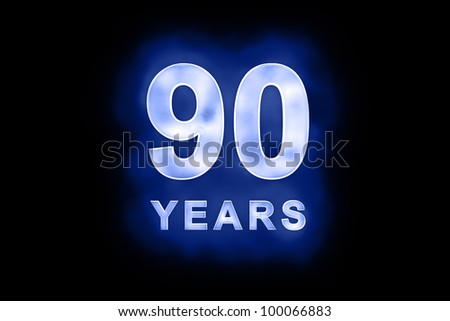 90 years text with blue glow on black background - stock photo