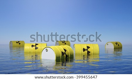 Yellow barrels for radioactive biohazard waste floating on sea surface, 3d rendering - stock photo