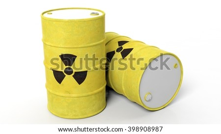 Yellow barrels for radioactive biohazard waste, isolated on white background, 3d rendering - stock photo