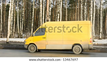 "yellow blank delivery van truck of ""Trucks"" series in my portfolio - stock photo"