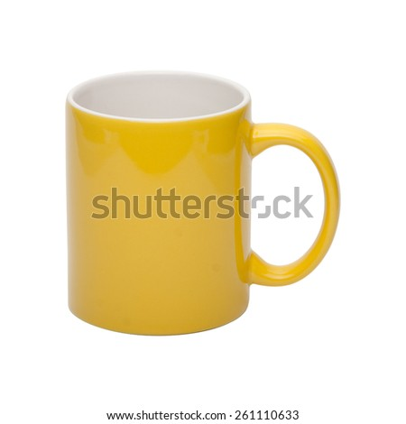 Yellow coffee cup isolated with clipping path included - stock photo