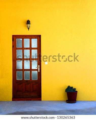 Yellow house wall with door and flower pot / Door - stock photo