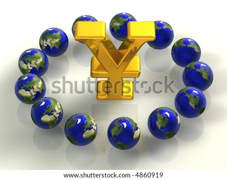 12, yen, money profit, invest, money, dollar, euro, economy - stock photo