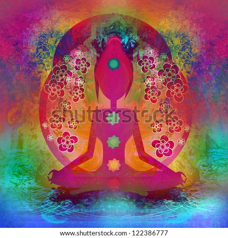 Yoga lotus pose. Padmasana with colored chakra points. - stock photo