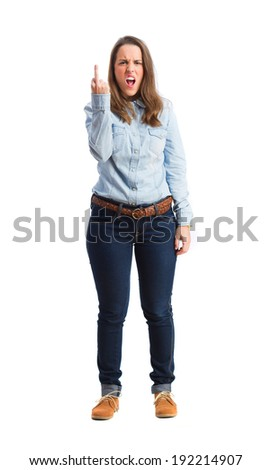 young andry woman. isolated - stock photo
