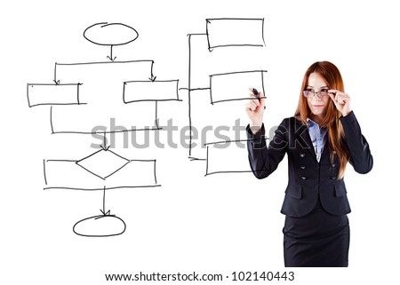 young beautiful  business woman drawing a schematic business plan - stock photo