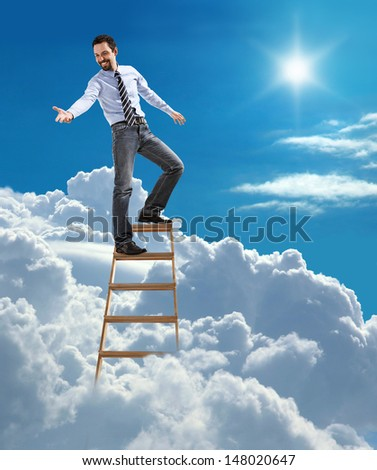 """""""young confident businessman standing at the top of ladder high in the sky lends a helping hand / young man in shirt and tie extends his hand down while standing high in heaven""""  - stock photo"""