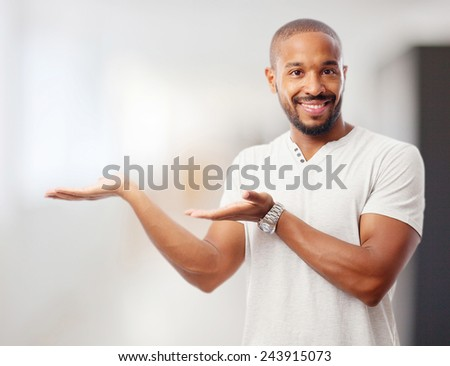 young cool black man show sign - stock photo