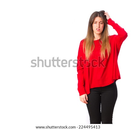 young cool girl doubting - stock photo