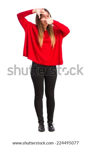young cool girl taking a picture - stock photo