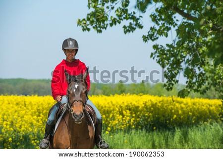 young girl on horseback riding - stock photo