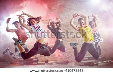 young people practicing dance fitness workout - stock photo