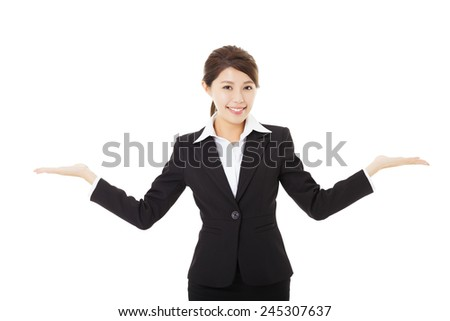 young smiling businesswoman with showing gesture - stock photo