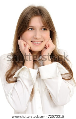 young woman its fingers covering its ears to not hear noise. - stock photo