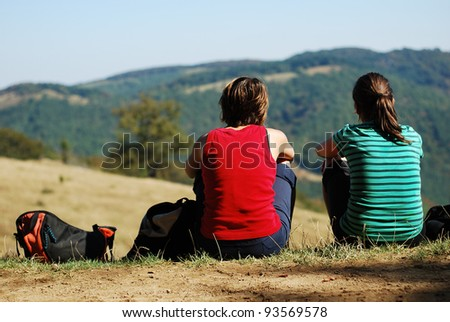 young women  outdoor - stock photo