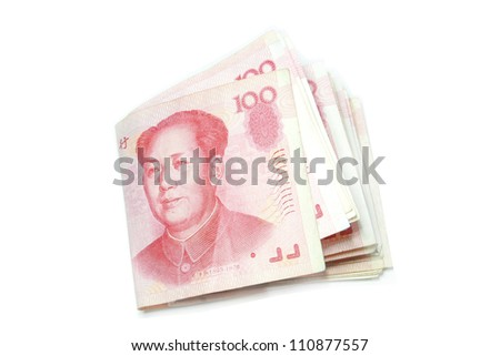 100 Yuan bills fold isolated - stock photo