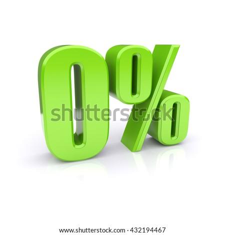 0%. Zero percent. 3d image - stock photo