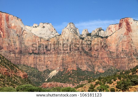 Zion National Park, Utah. (West Temple and Altar of Sacrifice) - stock photo