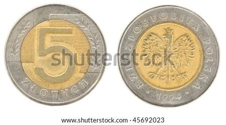 5 zloty - money of Poland. Obverse and reverse - stock photo