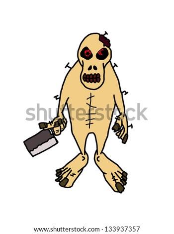 zombie cartoon isolated on white - stock photo