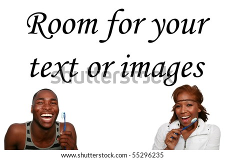 a  african american couple is excited about brushing their teeth,  isolated on white - stock photo