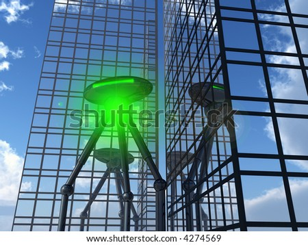 A alien tripod travel machine which is invading a city. - stock photo