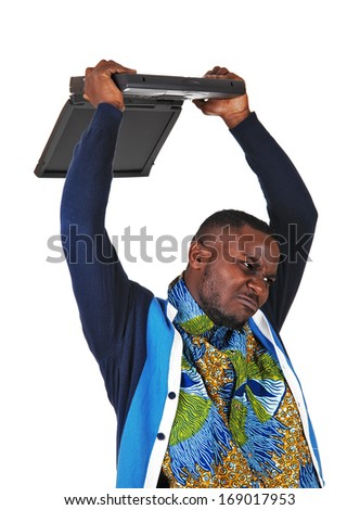 A angry black man throwing his laptop over his head, for white background.  - stock photo