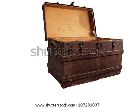 a antique wooden chest that is open and isolated on a white background - stock photo