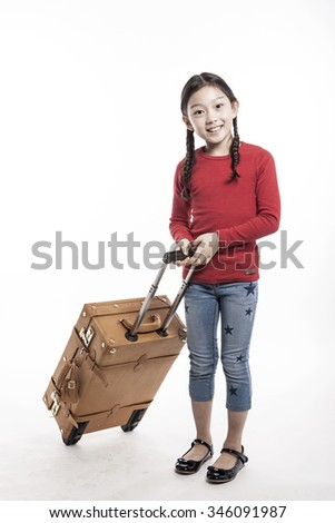 A asian(korean, japanese, chinese) girl(kid, student, child, woman, female) wearing red shirts stand up(walk) with a leather luggage(suit case), smile for tour, journey isolated white. - stock photo