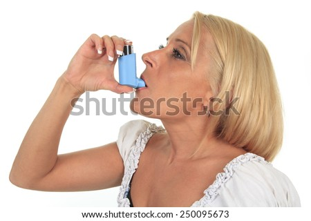 A asthma woman in front of a white background - stock photo