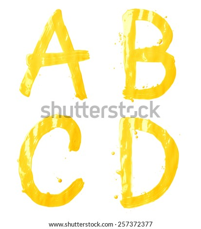 A, B, C, D letter character set of a hand drawn with the oil paint brush strokes, isolated over the white background - stock photo
