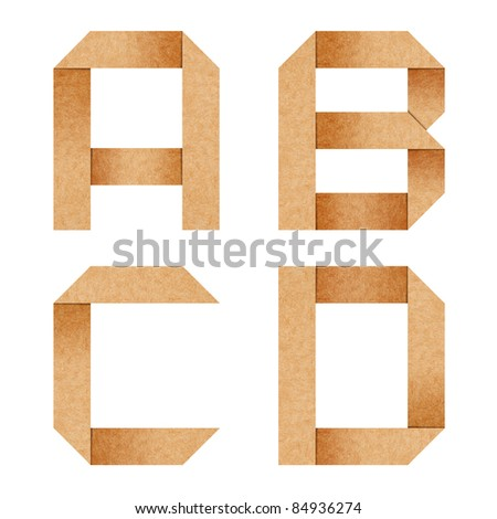 A,B,C,D Origami alphabet letters from recycled paper with clipping path - stock photo